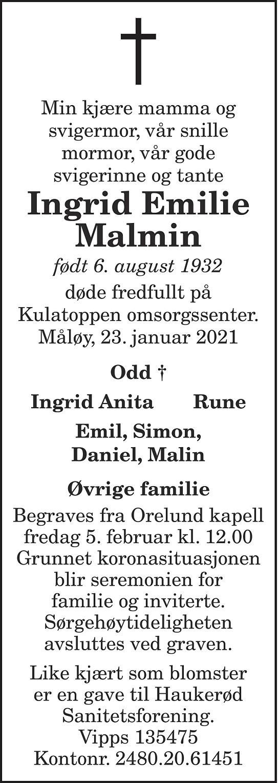 Ingrid Emilie Malmin Dødsannonse