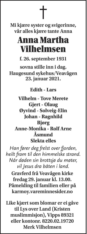 Anna Martha Vilhelmsen Dødsannonse