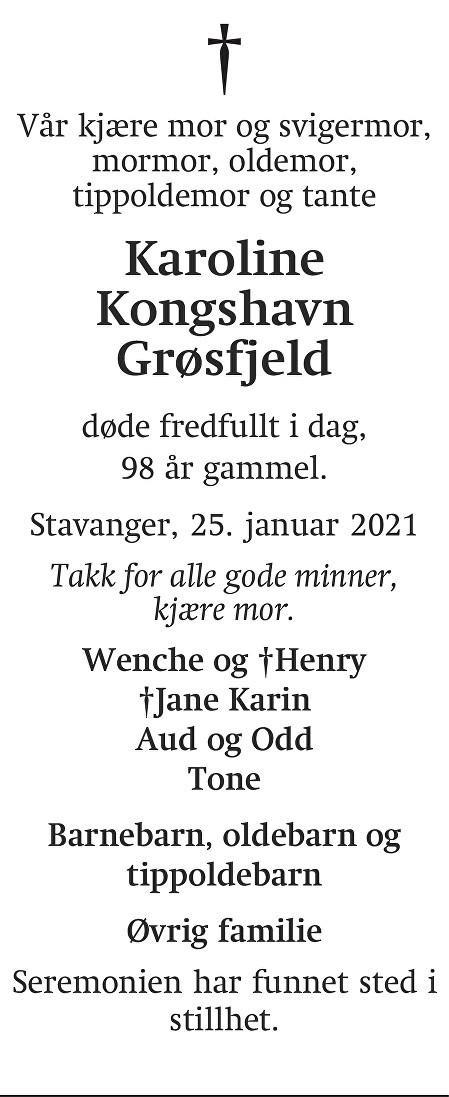 Karoline Kongshavn Grøsfjeld Dødsannonse