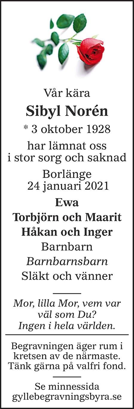 Sibyl Norén Death notice
