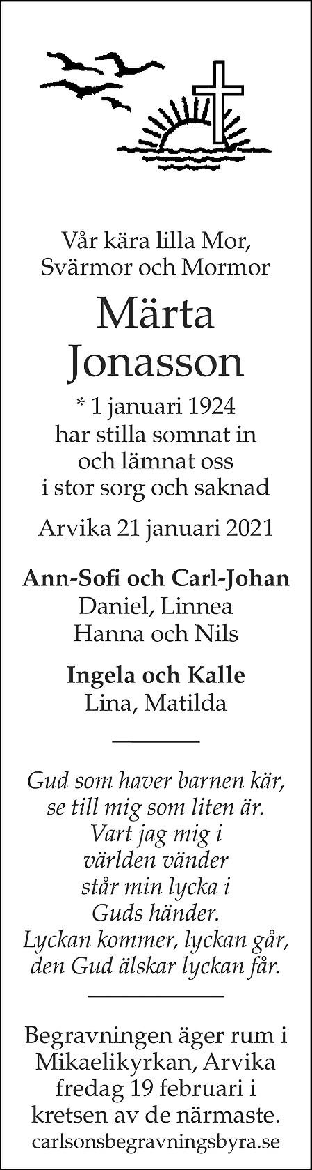 Märta Jonasson Death notice