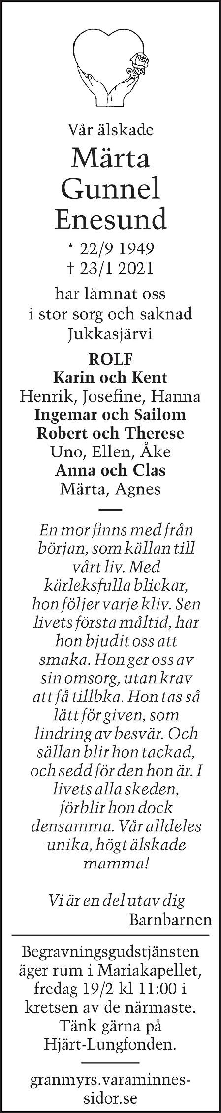 Märta Gunnel Enesund Death notice