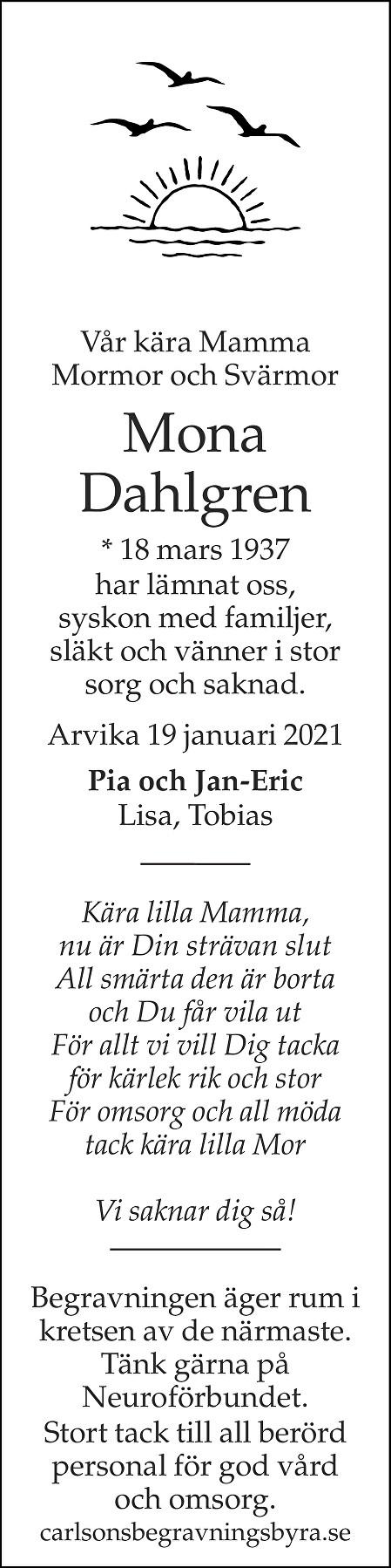 Mona Dahlgren Death notice
