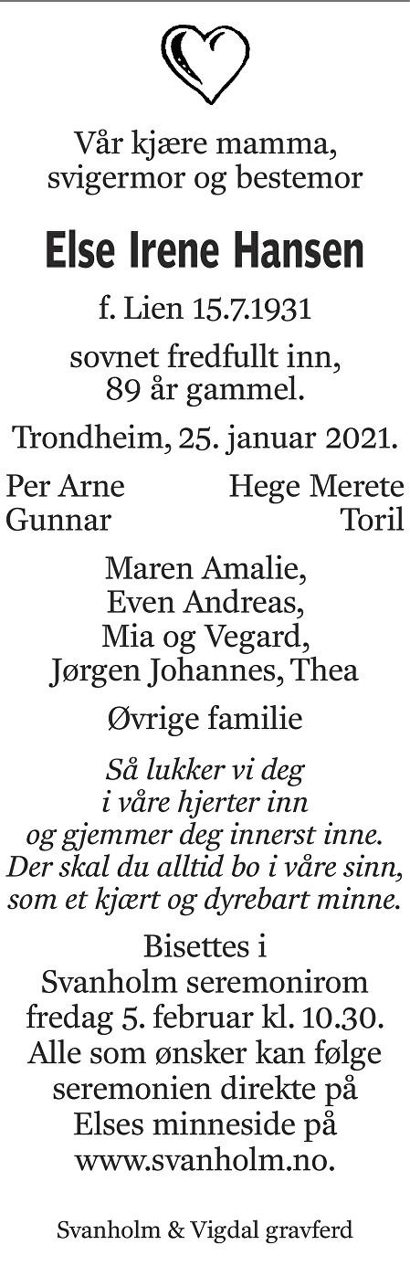 Else Irene Hansen Dødsannonse