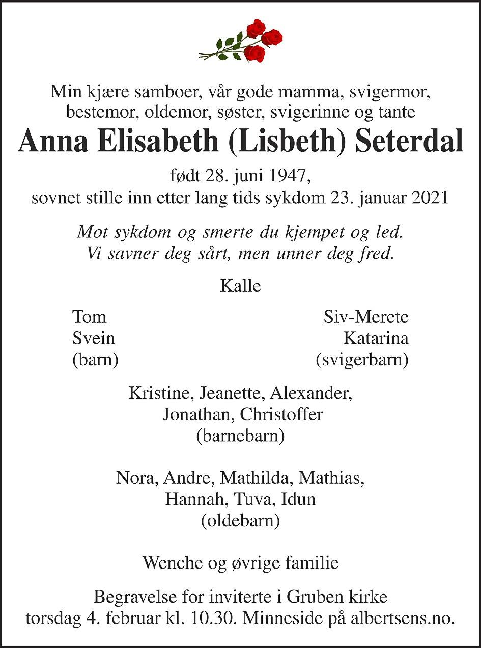 Anna Elisabeth Seterdal Dødsannonse