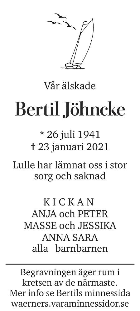 Bertil Jöhncke Death notice
