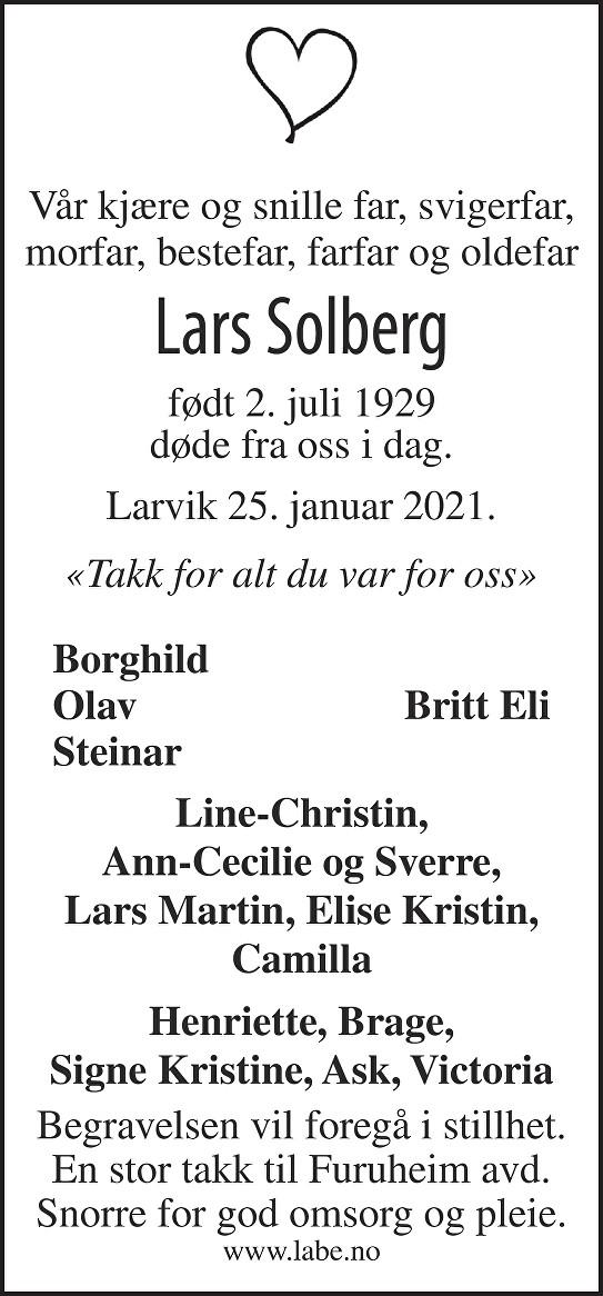 Lars Solberg Dødsannonse