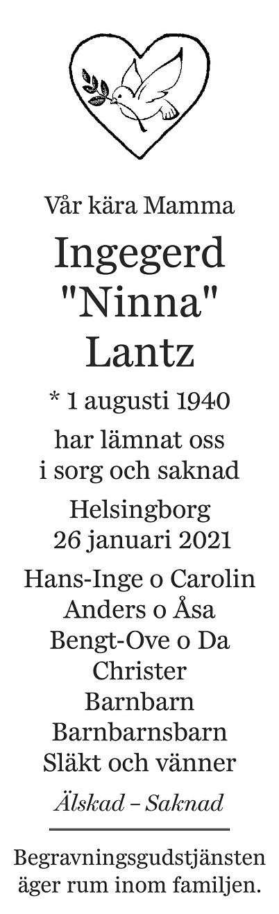 Ingegerd Lantz Death notice