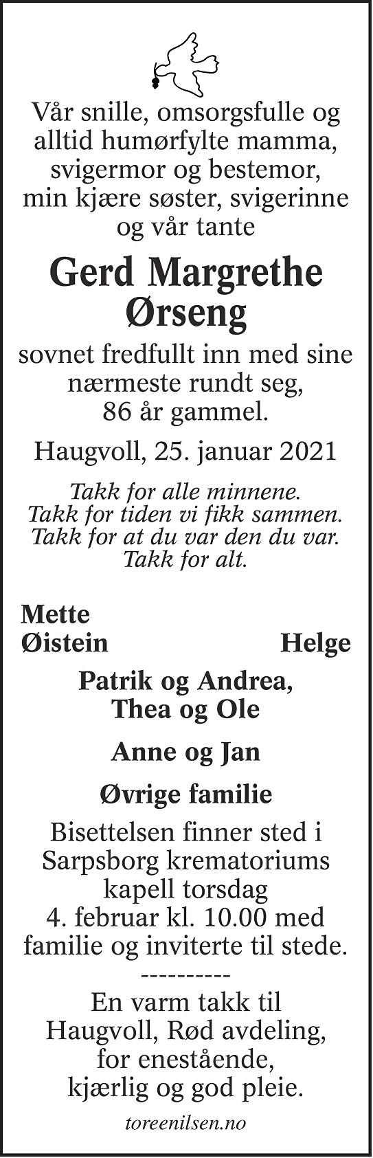 Gerd Margrethe Ørseng Dødsannonse