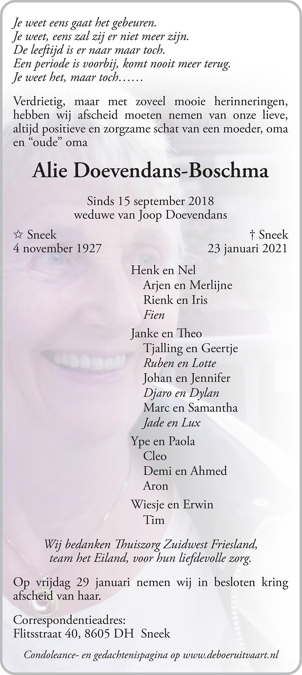 Alie Doevendans-Boschma Death notice
