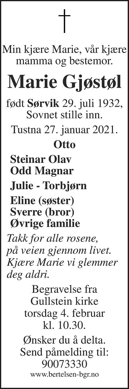 Marie Gjøstøl Dødsannonse