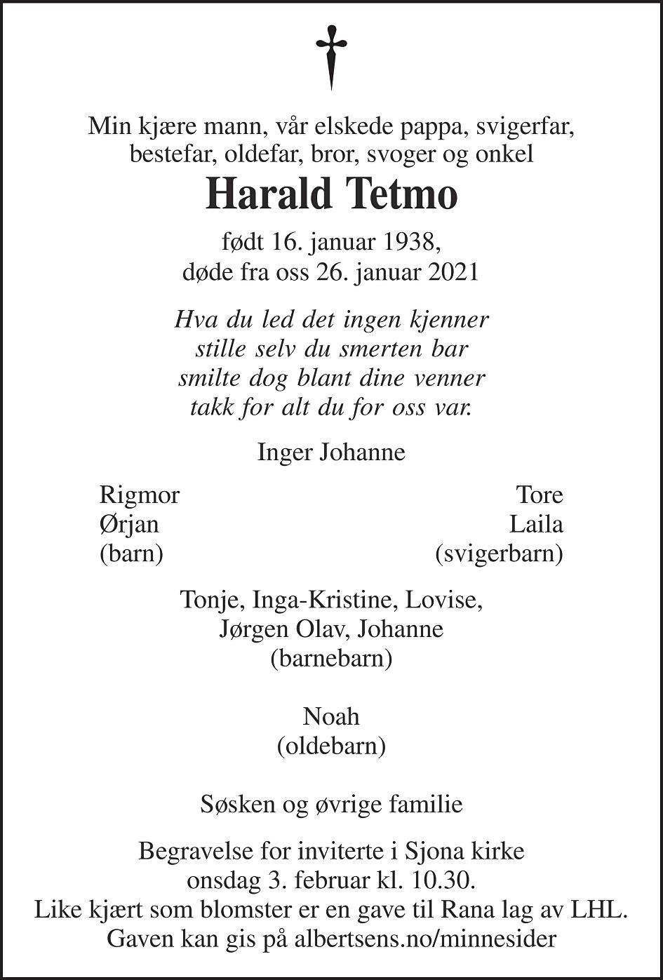 Harald Tetmo Dødsannonse