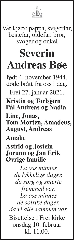 Severin Andreas Bøe Dødsannonse