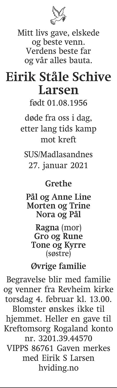 Eirik Ståle Schive Larsen Dødsannonse