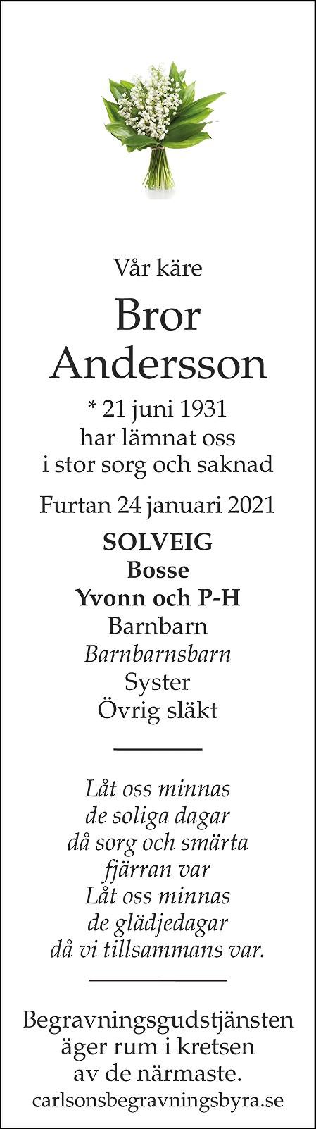 Bror Andersson Death notice