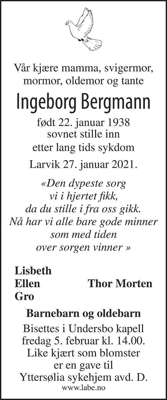 Ingeborg Bergmann Dødsannonse