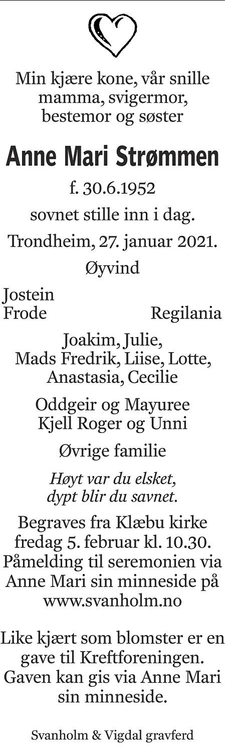 Anne Mari Strømmen Dødsannonse