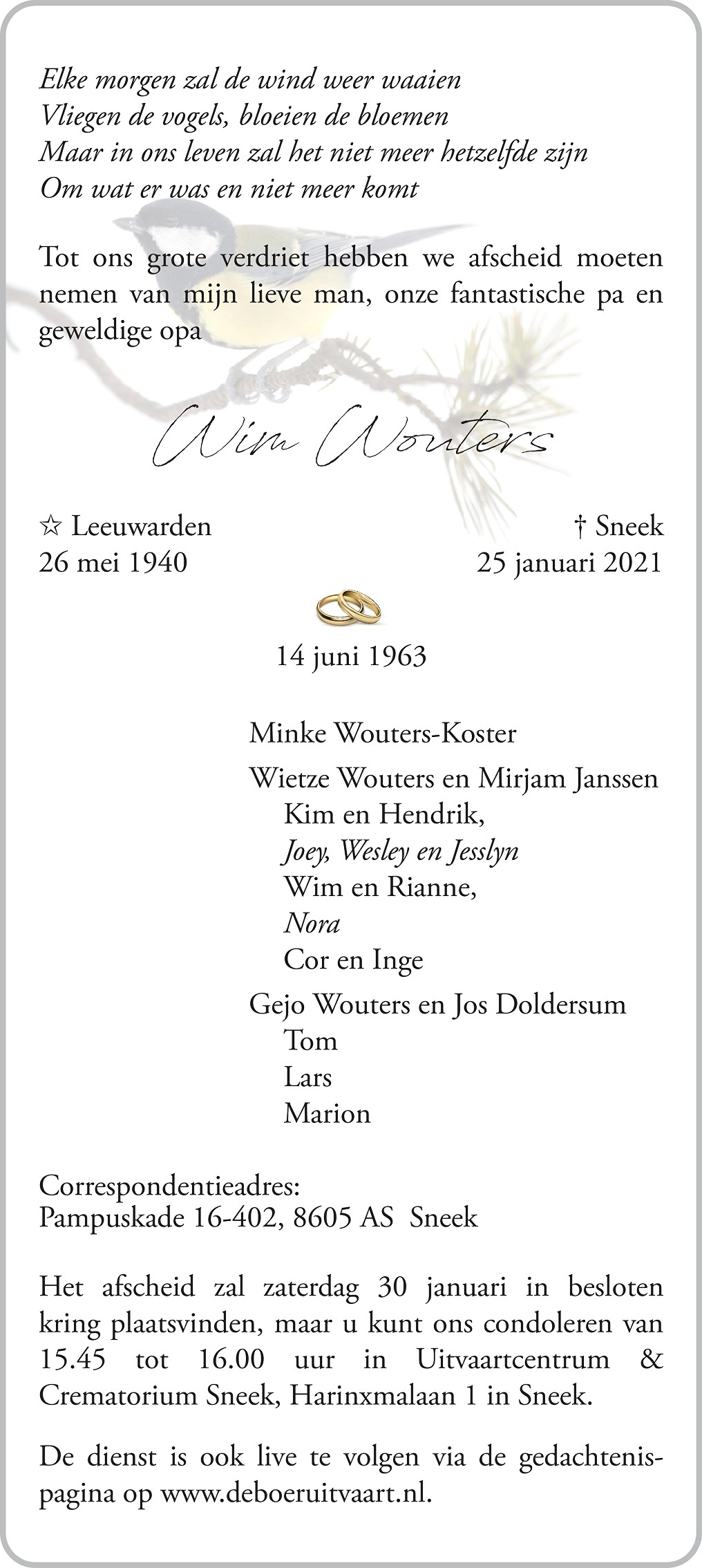 Willem Wouters Death notice
