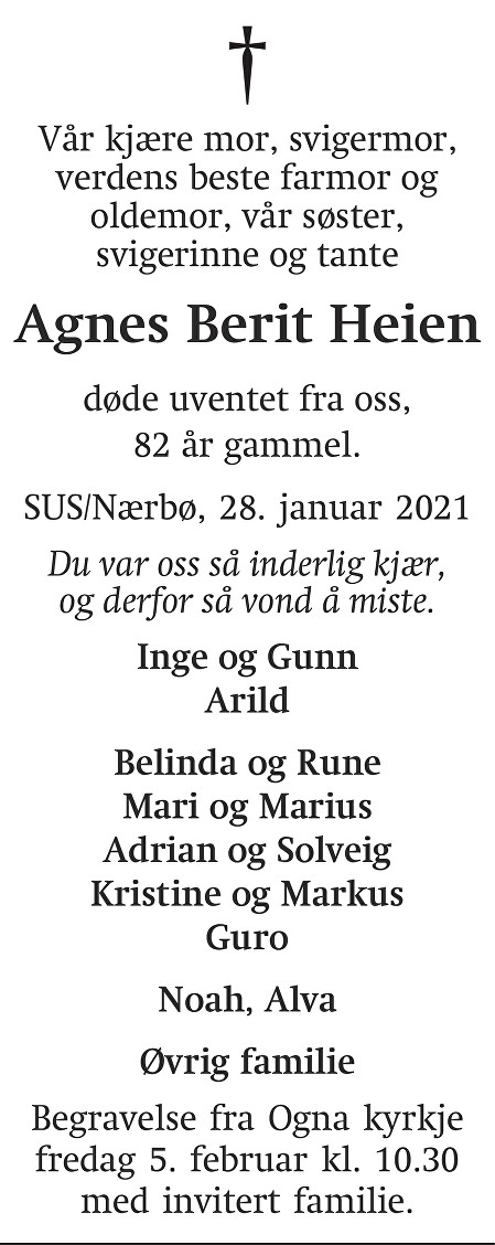 Agnes Berit Heien Dødsannonse