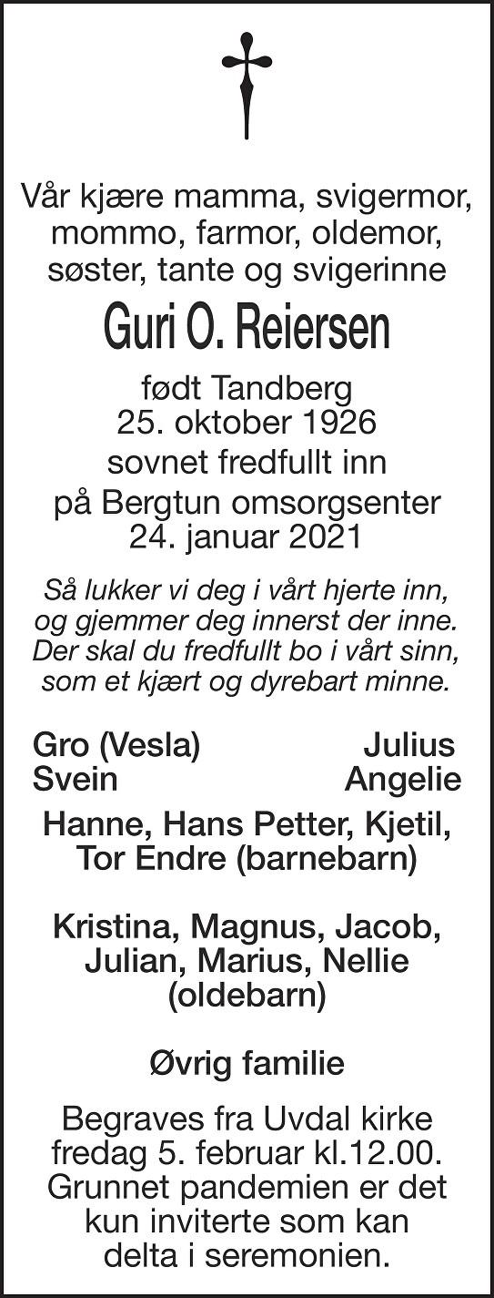 Guri O. Reiersen Dødsannonse