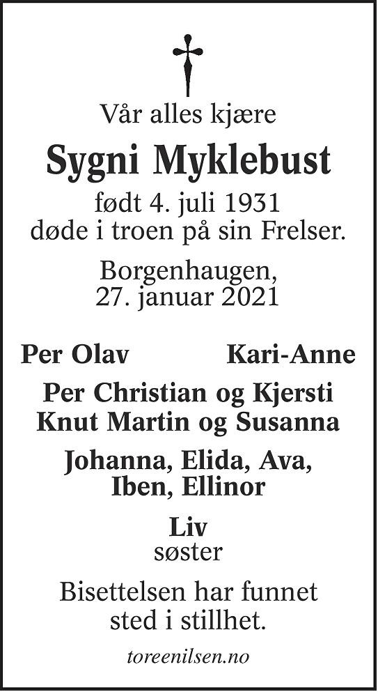 Sygni Helene Myklebust Dødsannonse