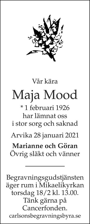 Maja Mood Death notice
