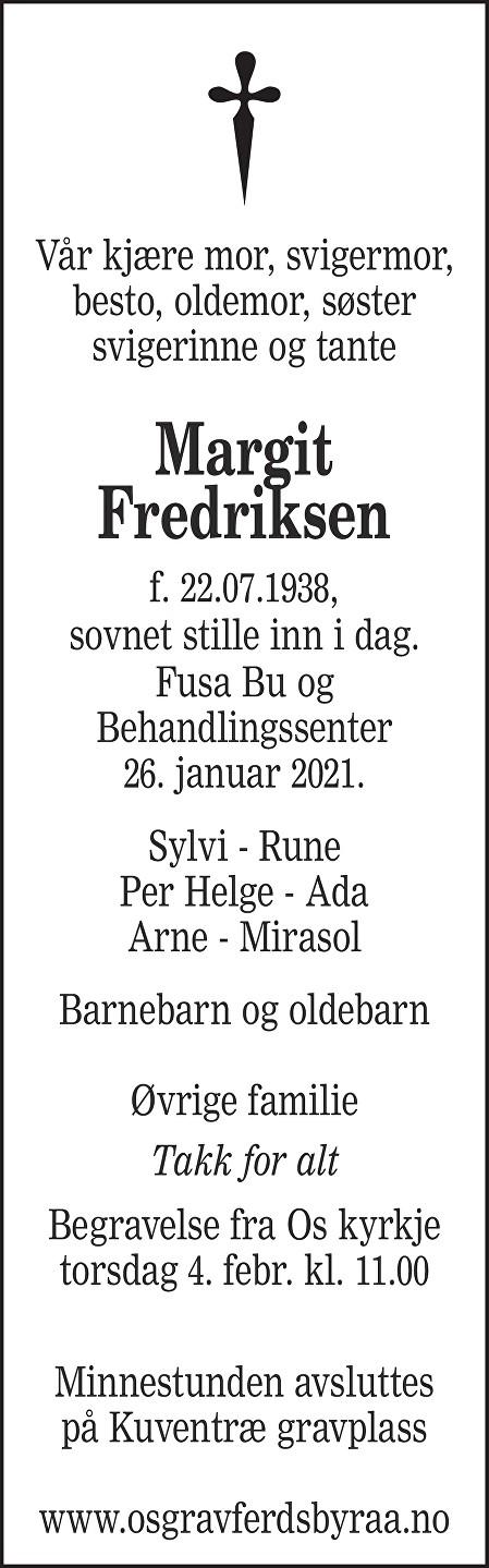 Margit Fredriksen Dødsannonse