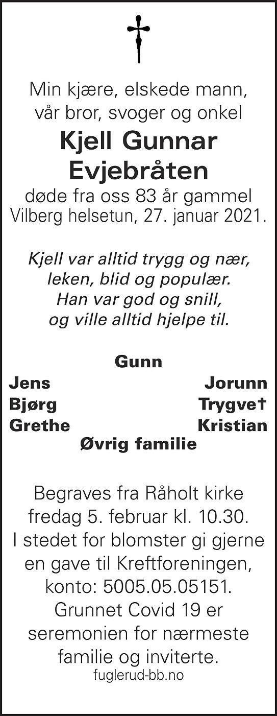 Kjell Gunnar Evjebråten Dødsannonse