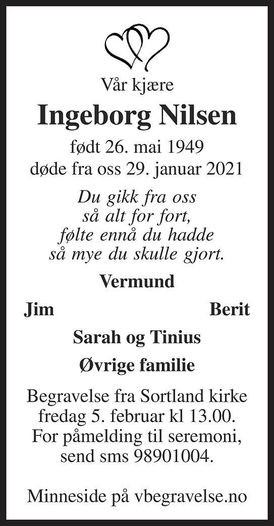 Ingeborg Nilsen Dødsannonse