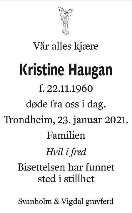 Kristine Haugan Dødsannonse