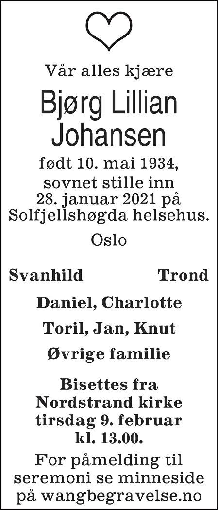 Bjørg Lillian Johansen Dødsannonse