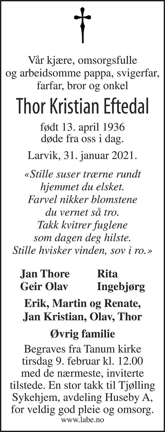 Thor Kristian Eftedal Dødsannonse