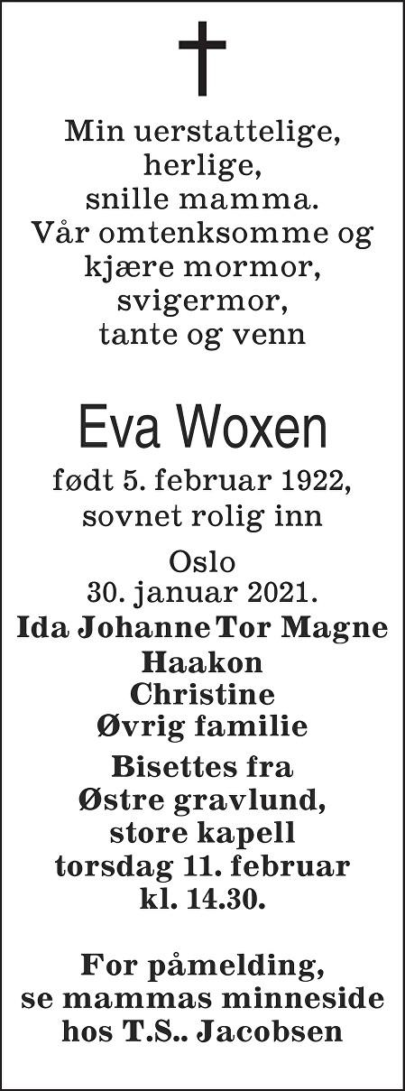 Eva Woxen Dødsannonse