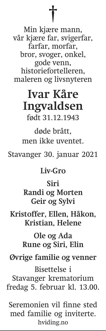 Ivar Kåre Ingvaldsen Dødsannonse