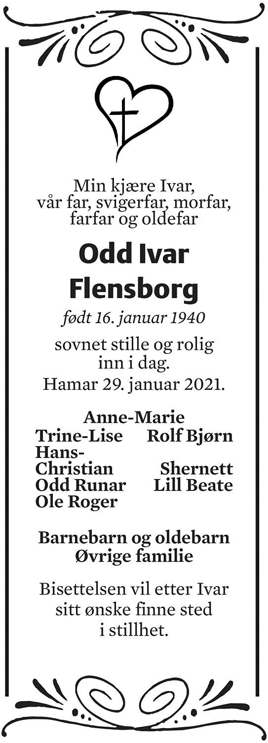 Odd Ivar Flensborg Dødsannonse