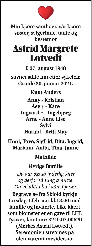 Astrid Margrete Løtvedt Dødsannonse