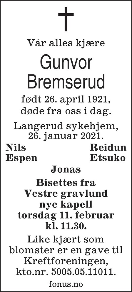Jenny Gunvor Bremserud Dødsannonse