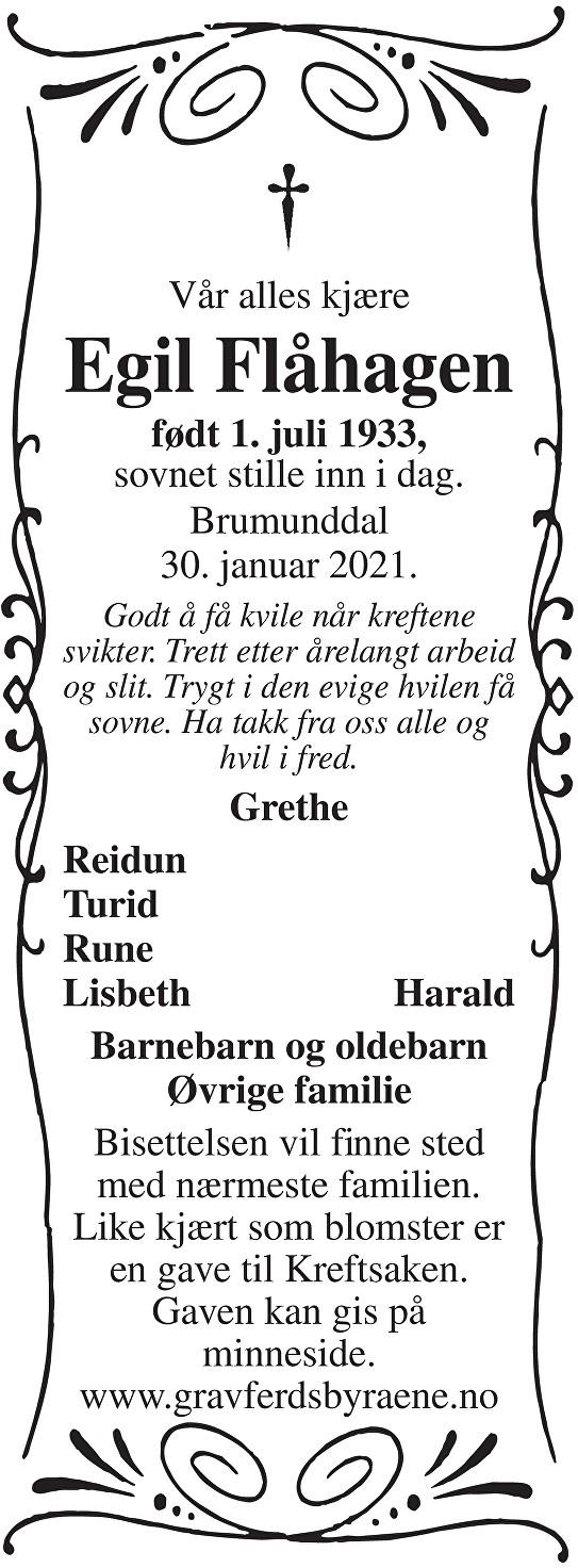 Egil Flåhagen Dødsannonse
