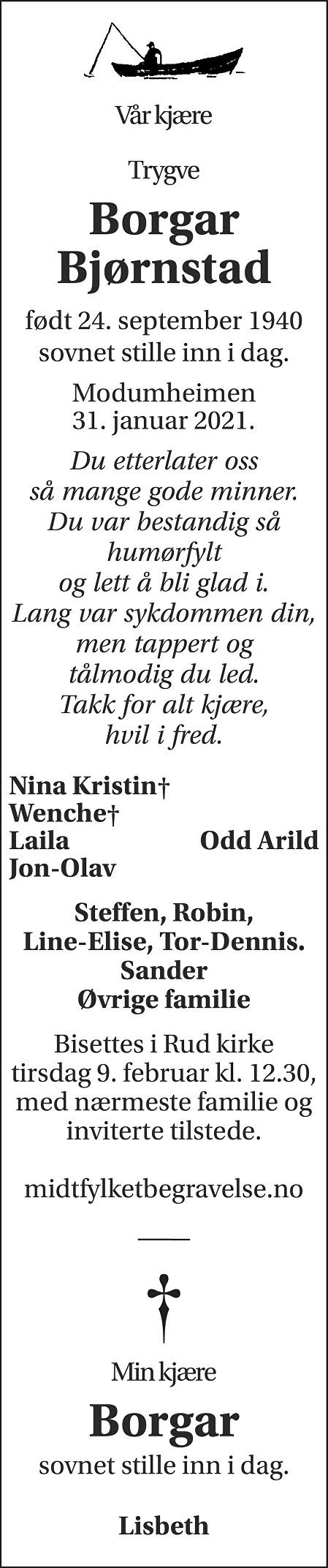 Trygve Borgar Bjørnstad Dødsannonse