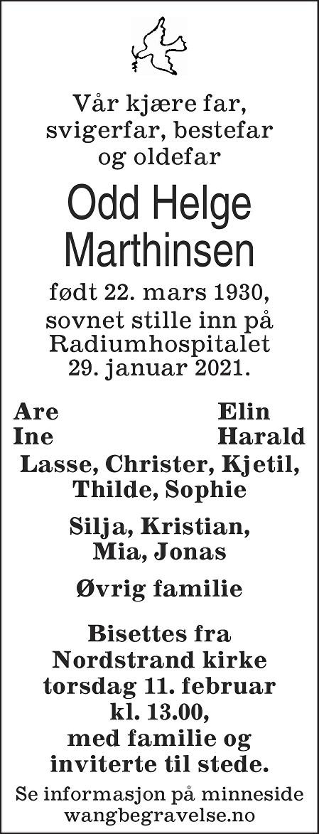 Odd Helge Marthinsen Dødsannonse