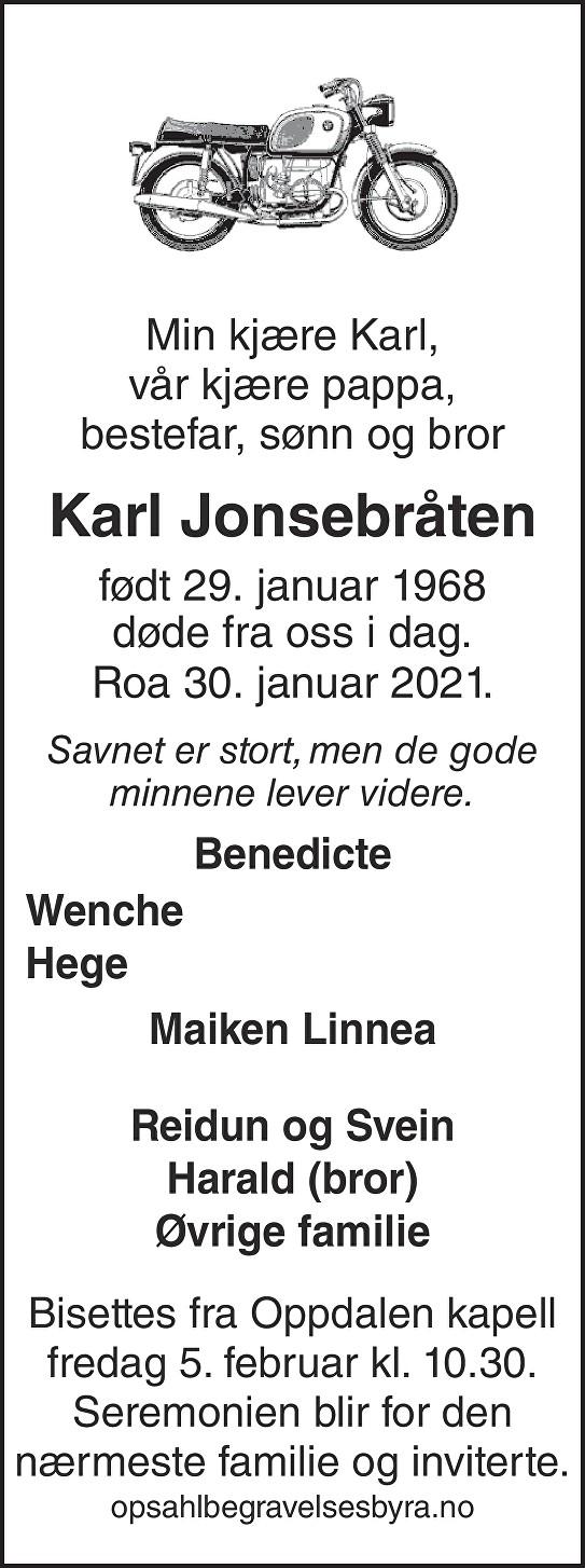 Karl Jonsebråten Dødsannonse