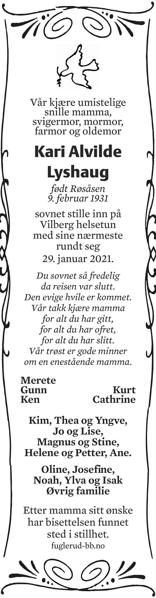 Kari Alvilde Lyshaug Dødsannonse