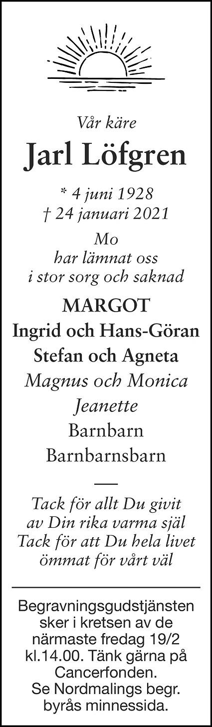 Jarl Löfgren Death notice