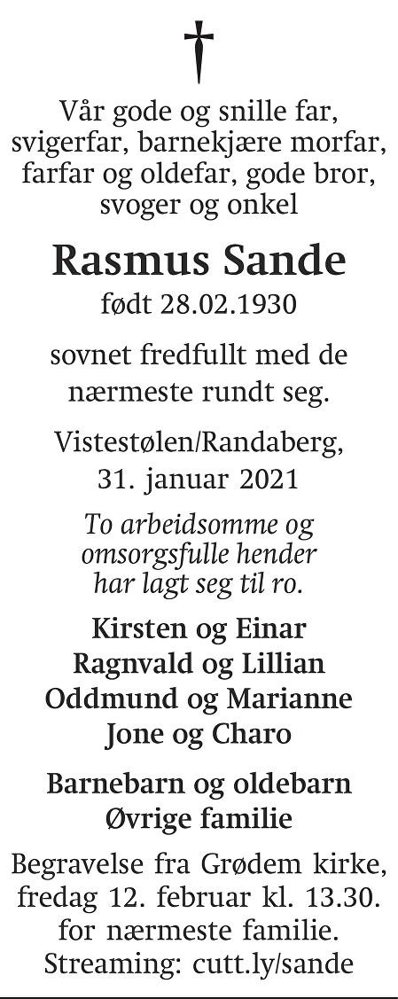 Rasmus Sande Dødsannonse