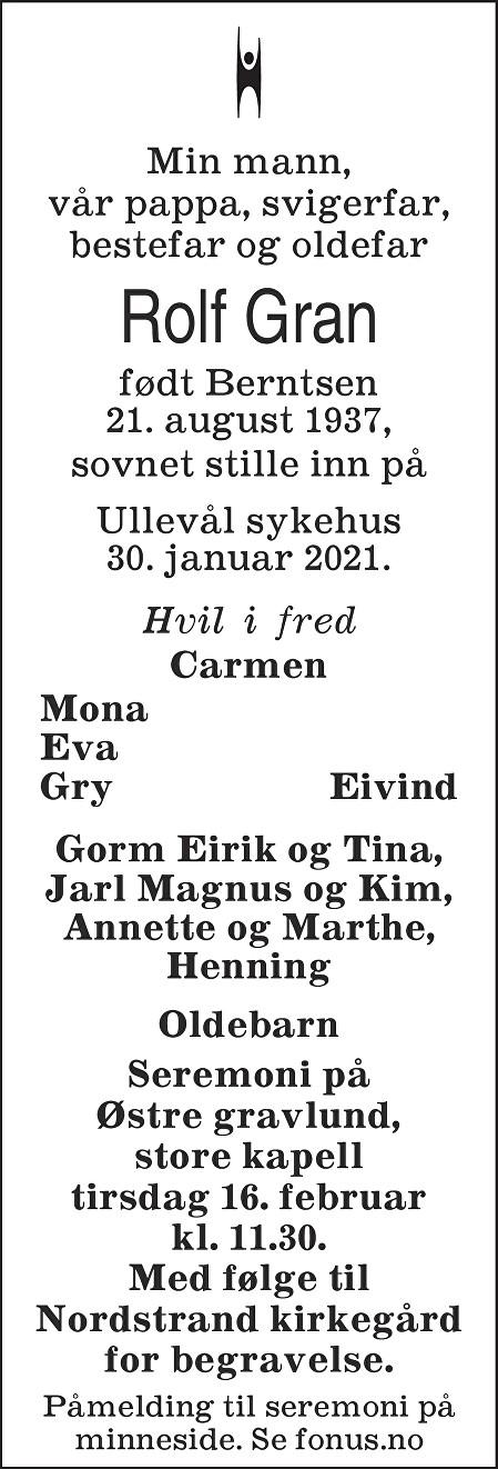 Rolf Gran Dødsannonse
