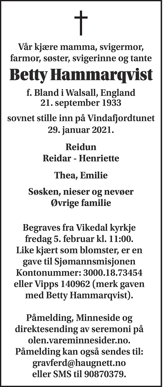 Betty Hammarqvist Dødsannonse