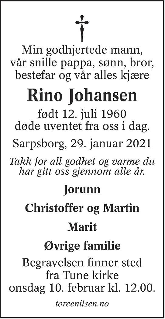 Rino Johansen Dødsannonse