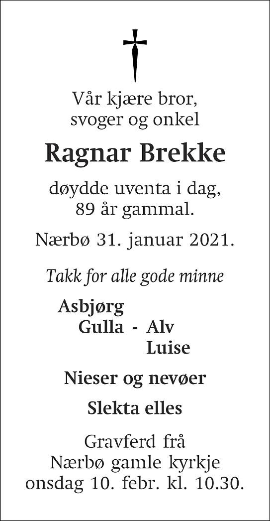 Ragnar Brekke Dødsannonse