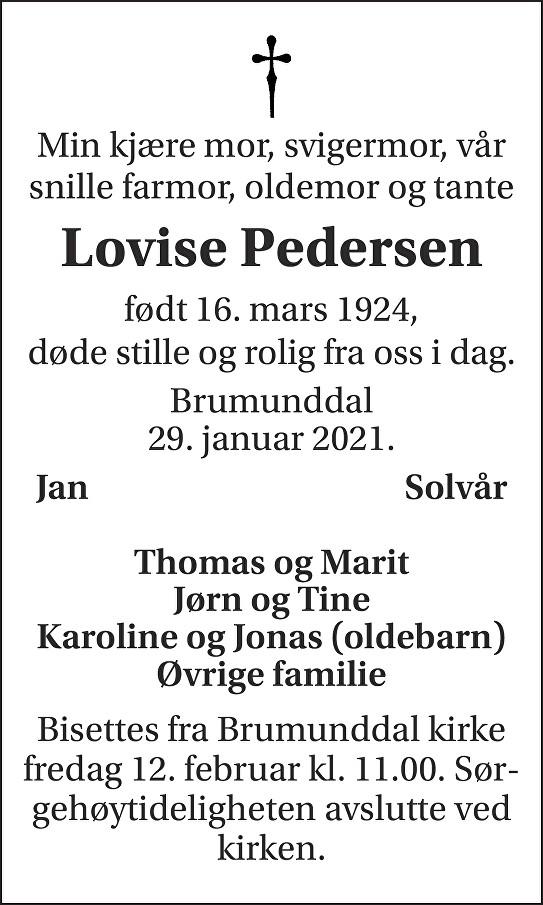 Lovise Pedersen Dødsannonse
