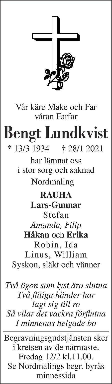 Bengt Lundkvist Death notice
